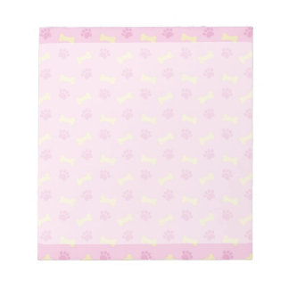Pink Paw Print Bone Pattern Notepad
