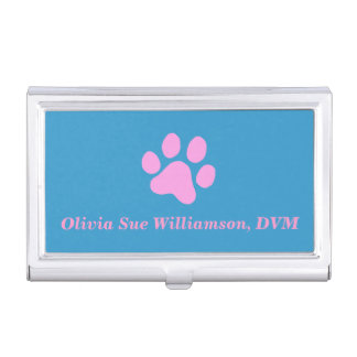 Pink Paw Print Business Card Holder