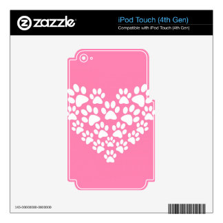 Pink Paw Print Heart - White Paws Decal For iPod Touch 4G