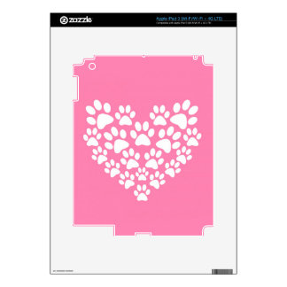 Pink Paw Print Heart - White Paws Decals For iPad 3