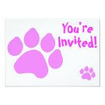 """Pink Paw Print Invitation 5"""" X 7"""" Invitation Card"""