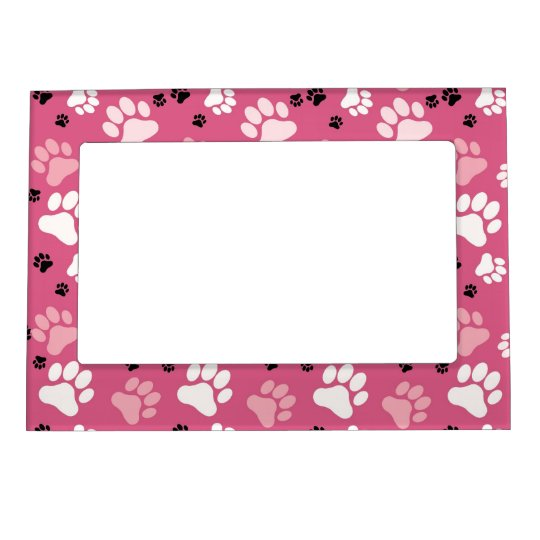 Pink Paw Print Magnetic Picture Frame | Zazzle.com