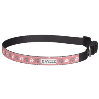 Pink Paw Print Pattern and Name Pet Collar