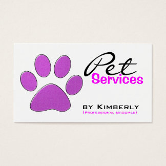 Pink Paw Print Pet Grooming Business Cards