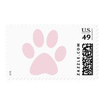 Pink Paw Print Postage Stamp