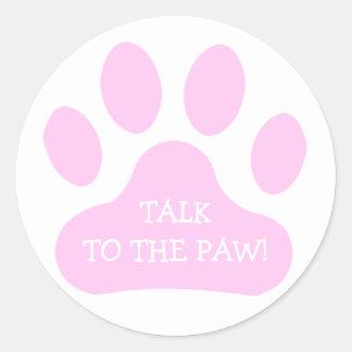 Pink Paw Print Classic Round Sticker
