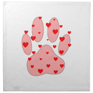 Pink Paw Print With Hearts Napkin