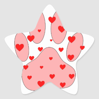 Pink Paw Print With Hearts Star Sticker