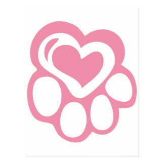 Pink Paw Print with Love Postcard