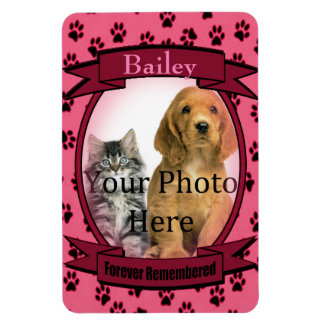 Pink Paw Prints Memorial for Cat or Dog Rectangular Photo Magnet