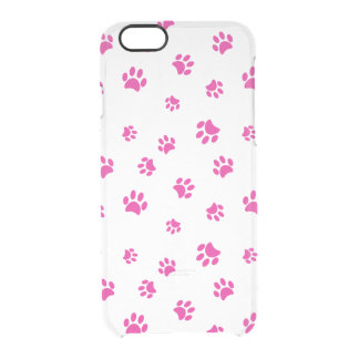 Pink Paw Prints Pattern Clear iPhone 6/6S Case