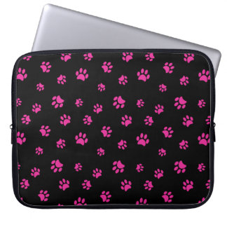 Pink Paw Prints Pattern Computer Sleeve