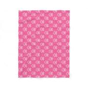 Pink Paw Prints Pattern dog lovers cozy doggie Fleece Blanket