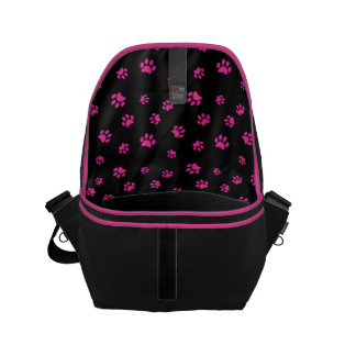 Pink Paw Prints Pattern with Black Background Small Messenger Bag