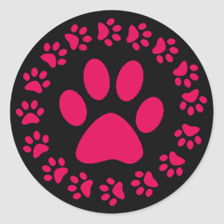 PINK PAW PRINTS ROUND STICKERS
