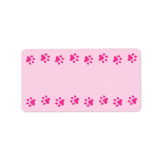 Pink pawprint border pet dog or cat cute blank label