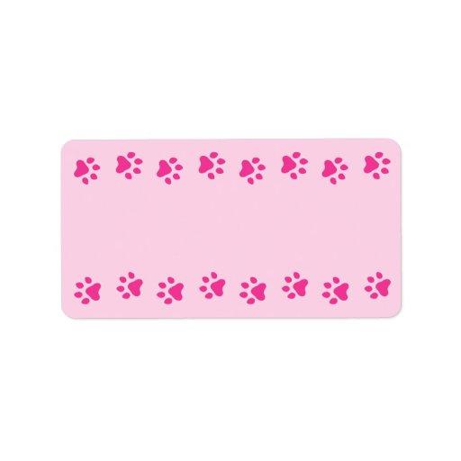 Pink pawprint border pet dog or cat cute blank label | Zazzle