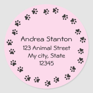 Pink pawprint circle address label classic round sticker