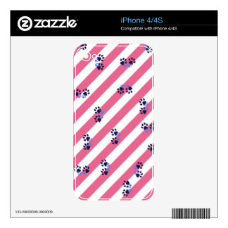 Pink Paws Decals For iPhone 4S
