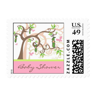 Pink Pea In A Pod Garden Girl Baby Shower Postage