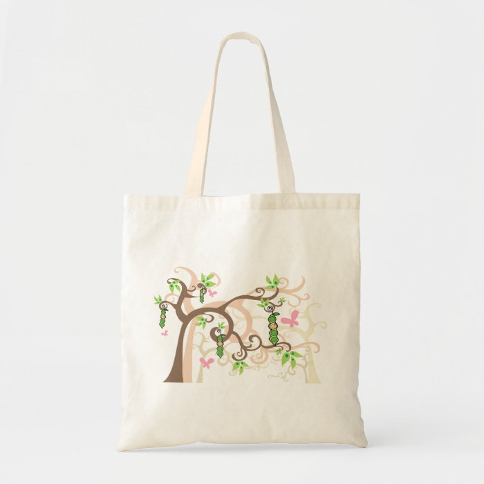 Pink Pea in a Pod Garden Girl Baby Shower Tote Bag