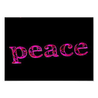 pink peace black poster