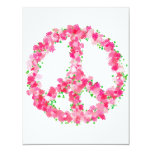 "Pink Peace Flowers 4.25"" X 5.5"" Invitation Card"