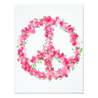 Pink Peace Flowers 4.25x5.5 Paper Invitation Card