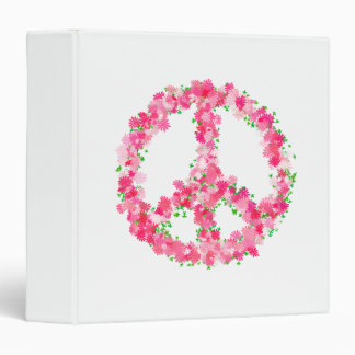 Pink Peace Flowers Binder