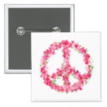 Pink Peace Flowers Button