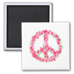 Pink Peace Flowers Fridge Magnets
