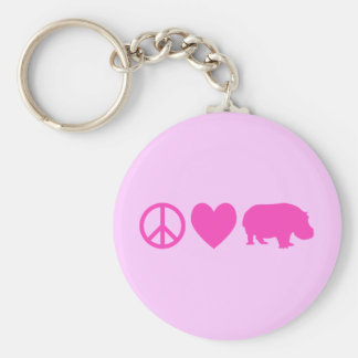 Pink Peace Love and Hippos Basic Round Button Keychain