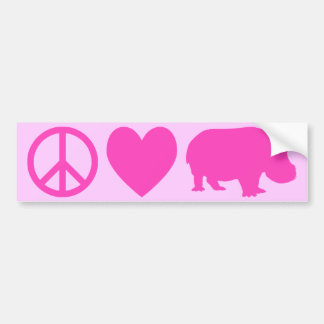 Pink Peace Love and Hippos Bumper Sticker