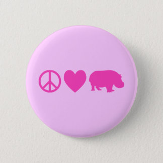 Pink Peace Love and Hippos Button