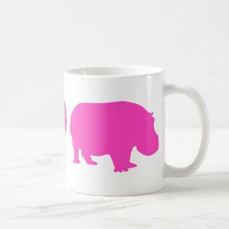 Pink Peace Love and Hippos Classic White Coffee Mug
