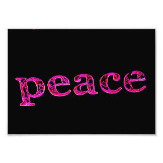 pink peace on black photo print
