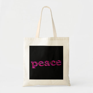 pink peace on black tote bag