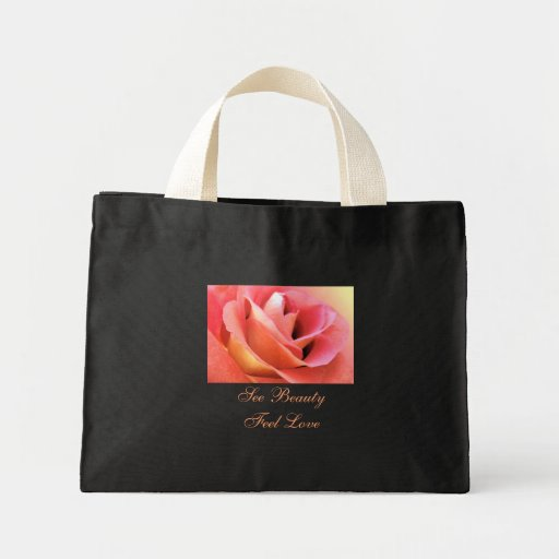 Pink Peace Rose, See Beauty, Feel Love Black Toto Mini Tote Bag
