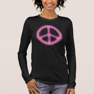 Pink Peace Sign Abstract Long Sleeve T-Shirt