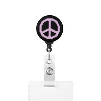 Pink Peace Sign Badge Holder