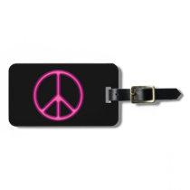 Pink Peace Sign Bag Tag