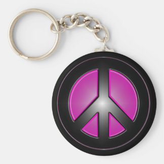 pink peace sign basic round button keychain