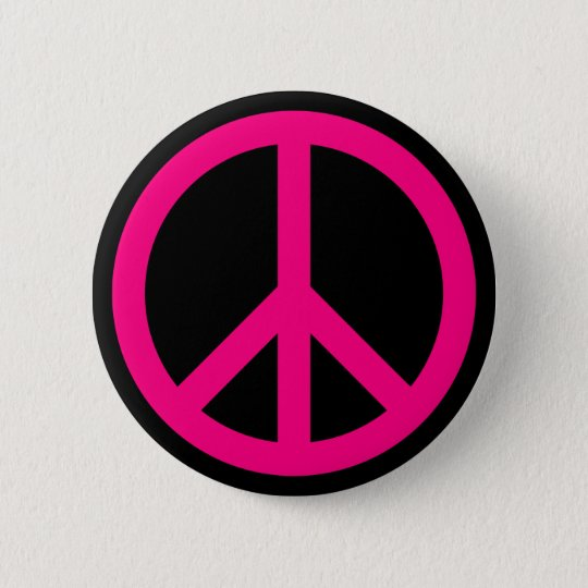 Pink Peace Sign Button