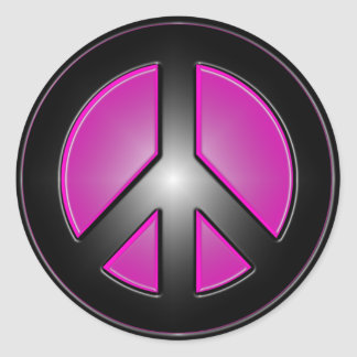 Pink Peace sign Classic Round Sticker