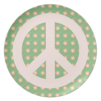 Pink Peace Sign & Flowers plate