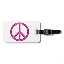 Pink Peace Sign Luggage Tag