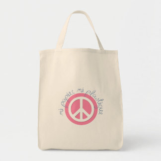 Pink Peace Sign - Neither Paper Nor Plastic Bag