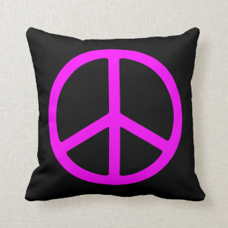 Pink Peace Sign on Black Throw Pillow