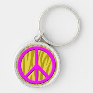 Pink Peace Sign on Yellow Animal Pattern.jpg Keychain