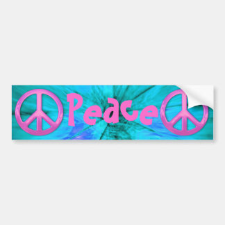 Pink Peace Sign Over Blue Abstract Explosion Car Bumper Sticker